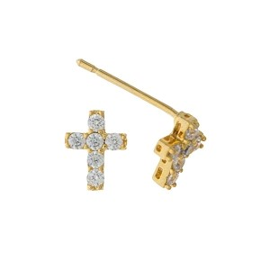 """Gold tone cross stud earrings with clear rhinestone accents. Approximately 1/3"""" in length."""