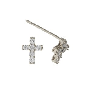 """Silver tone cross stud earrings with clear rhinestone accents. Approximately 1/3"""" in length."""