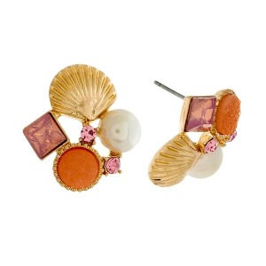 "Gold tone stud earrings with a seashell, peach stones, and a pearl bead. Approximately 3/4"" in length."