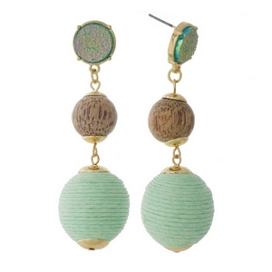 "Gold tone fishhook earrings with a a faux druzy stone, wooden bead and mint green thread wrapped ball bead. Approximately 2.75"" in length."