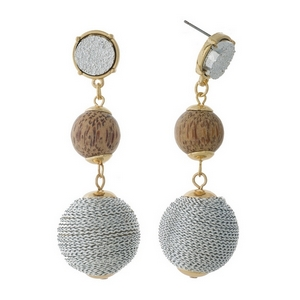 """Gold tone fishhook earrings with a a faux druzy stone, wooden bead and silver thread wrapped ball bead. Approximately 2.75"""" in length."""