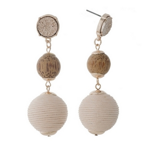 """Gold tone fishhook earrings with a a faux druzy stone, wooden bead and blush pink thread wrapped ball bead. Approximately 2.75"""" in length."""