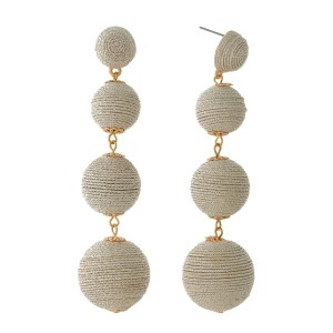 """Champagne thread wrapped ball earrings with gold tone accents. Approximately 3.5"""" in length."""