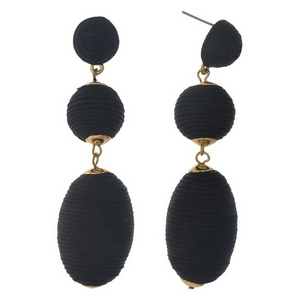 """Gold tone stud earrings with black, thread wrapped beads. Approximately 3"""" in length."""