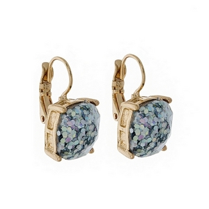 """Gold tone lever back earrings with an iridescent glitter square shape. Approximately 3/4"""" in length."""