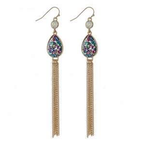 """Gold tone fishhook earrings with a multicolored glitter teardrop and chain tassel. Approximately 4"""" in length."""