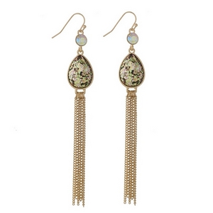"Gold tone fishhook earrings with an olive green glitter teardrop and chain tassel. Approximately 4"" in length."