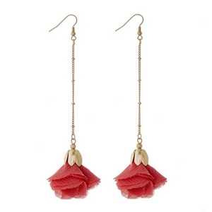 "Gold tone fishhook earrings with a coral fabric flower. Approximately 4.5"" in length."