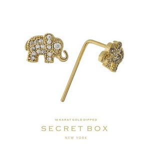 "Secret Box 14 karat gold dipped over brass elephant stud earrings. Approximately 1/4"" in length. Sold in a gift box."