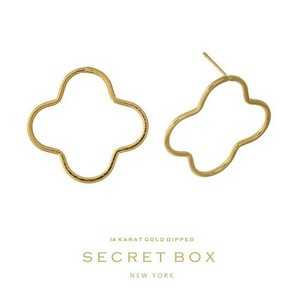 "Secret Box 14 karat gold dipped over brass clover shaped stud earrings. Approximately 1"" in length. Sold in a gift box."
