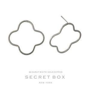 "Secret Box 24 karat white gold dipped over brass clover shaped stud earrings. Approximately 1"" in length. Sold in a gift box."