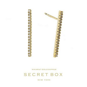 Secret Box 14 Karat Gold over brass rhinestone stud earrings. Approximately 20mm in length. Sold in gift box.