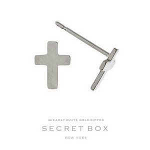 "Secret Box 24 karat white gold dipped over brass cross stud earrings. Approximately 1/3"" in length. Sold in a gift box."