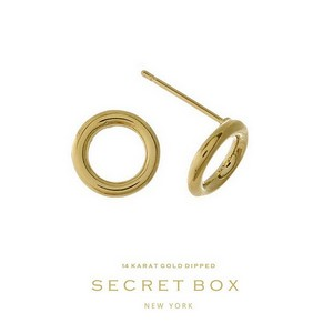 "Secret Box 14 karat gold dipped over brass circle stud earrings. Approximately 1/4"" in diameter."