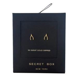 Secret Box 14 karat gold dipped over brass wishbone stud earrings. Approximately 8mm in length.