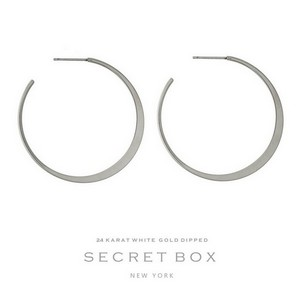 "Secret Box 24 karat white gold dipped over brass flat hoop earrings. Approximately 1.5"" in diameter. Sold in a gift box."
