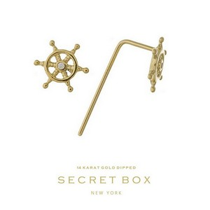 "Secret Box 14 karat gold dipped over brass ship's wheel stud earrings. Approximately 16"" in length. Pendant size 6mm in diameter. Sold in a gift box."