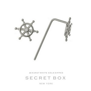 "Secret Box 24 karat white gold dipped over brass ship's wheel stud earrings. Approximately 16"" in length. Pendant size 6mm in diameter. Sold in a gift box."