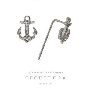 Secret Box 24 karat white gold dipped over brass anchor stud earrings. Approximately 10mm in length.
