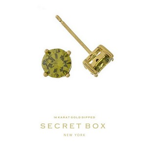 "Secret Box 14 karat gold dipped over brass olive green rhinestone stud earrings. Approximately 1/4"" in diameter. Sold in a gift box."
