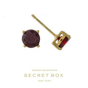 "Secret Box 14 karat gold dipped over brass red rhinestone stud earrings. Approximately 1/4"" in diameter. Sold in a gift box."