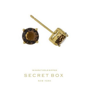 "Secret Box 14 karat gold dipped over brass topaz rhinestone stud earrings. Approximately 1/4"" in diameter. Sold in a gift box."