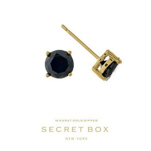 "Secret Box 14 karat gold dipped over brass black rhinestone stud earrings. Approximately 1/4"" in diameter. Sold in a gift box."
