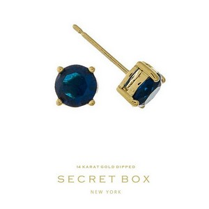 "Secret Box 14 karat gold dipped over brass navy blue rhinestone stud earrings. Approximately 1/4"" in diameter. Sold in a gift box."