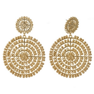"Gold tone post style earrings with two gold beaded circles. Approximately 3"" in length."