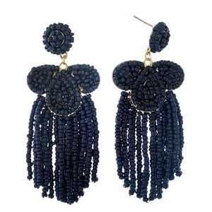 "Navy blue beaded statement earrings with beaded fringe. Approximately 3.25"" in length."