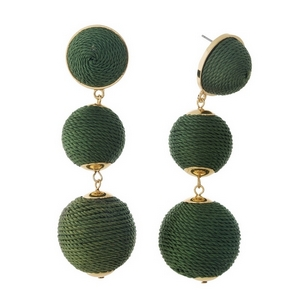 """Gold tone post style earrings with olive green thread wrapped beads. Approximately 3"""" in length."""