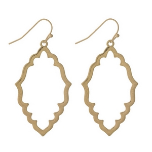 """Gold tone fishhook earrings with an open moroccan shape. Approximately 1.5"""" in length."""