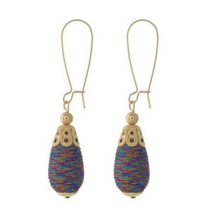 """Gold tone long hook earrings with a multicolored, thread wrapped, teardrop shaped bead. Approximately 2.5"""" in length."""