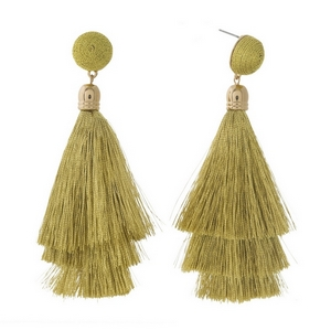 """Gold tone stud earrings with a gold thread wrapped bead and tapered tassel. Approximately 3.5"""" in length."""