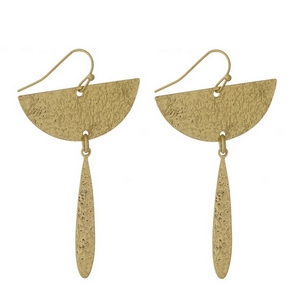 "Gold tone fishhook earrings with a hammered metal half circle shape and a teardrop shape. Approximately 2"" in length."