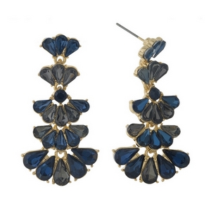 """Gold tone stud earrings with blue and gray rhinestones. Approximately 1.75"""" in length."""
