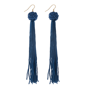 "Gold tone fishhook earrings with a navy blue knotted bead and thread tassel. Approximately 5"" in length."