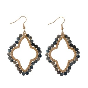 "Gold tone, open moroccan shaped, fishhook earrings with wire wrapped labradorite natural stones. Approximately 2"" in length."