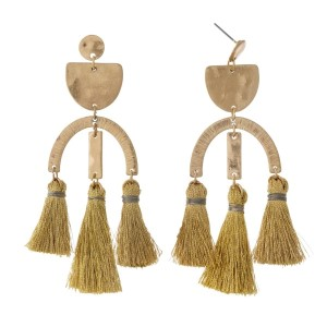 "Gold tone post style earrings with hammered geometric shapes and three tassels. Approximately 3.25"" in length."