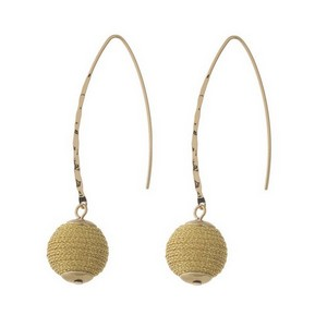 """Gold tone, long hook earrings with a metallic wrapped bead. Approximately 2.25"""" in length."""
