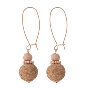 """Rose gold tone, drop earrings with a metallic thread bead. Approximately 2"""" in length."""