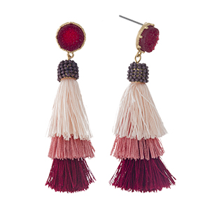 "Gold tone stud earrings with a faux druzy stone and a burgundy ombre, tiered, thread tassel. Approximately 2.5"" in length."