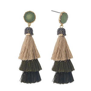 "Gold tone stud earrings with a faux druzy stone and an olive green ombre, tiered, thread tassel. Approximately 2.5"" in length."