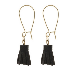 "Dainty, long hook earrings with a small, faux suede tassel. Approximately 1.5"" in length."