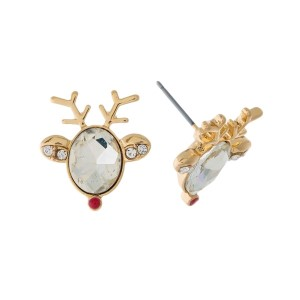 "Gold tone, reindeer stud earrings with a clear rhinestone face. Approximately 3/4"" in size."