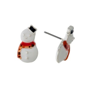 "Christmas snowman, silver tone, stud earrings. Approximately 1/2"" in length."