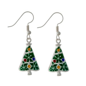 "Silver tone fishhook earrings with a green Christmas tree. Approximately 1"" in length."