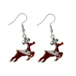 "Silver tone fishhook earrings with a reindeer. Approximately 1"" in size."