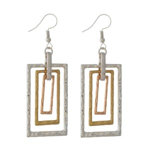 "Two tone, fishhook earrings with a rectangle shape. Approximately 2.5"" in length."