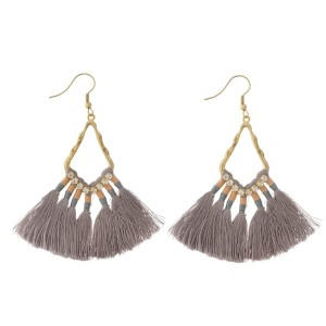 "Burnished gold tone fishhook earrings with gray, thread, fan tassels and rhinestone accents. Approximately 2.5"" in length."